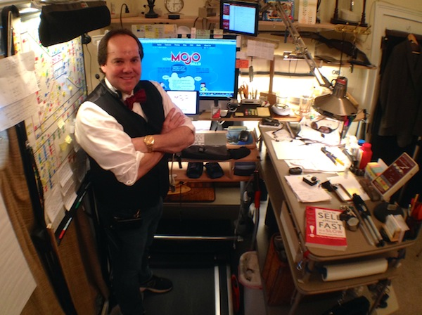 Ray's customized Mojo workstation – he spends most of his 8 a.m. to 6 p.m. days getting energized at his treadmill desk, often logging up to 10 miles per shift.