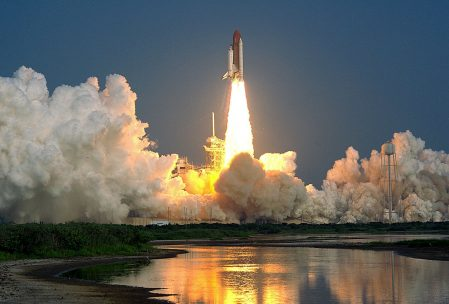 Space shuttle launching Cape Canaveral