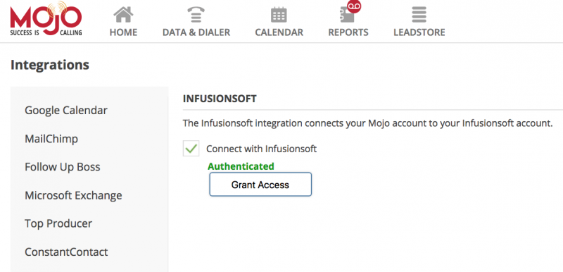 Connect Infusionsoft to Mojo Dialer