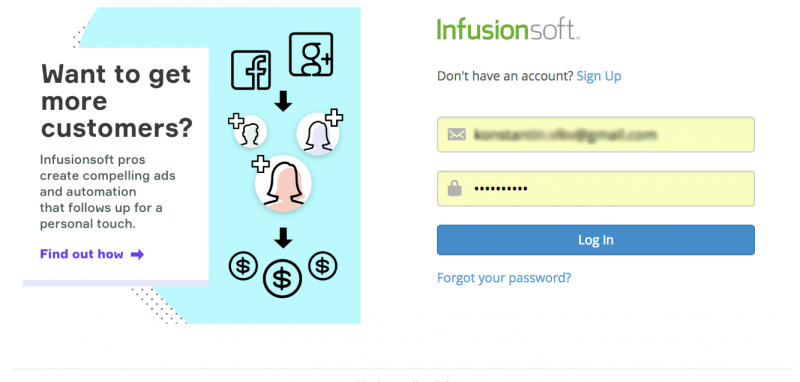 Log in to Infusionsoft to authenticate